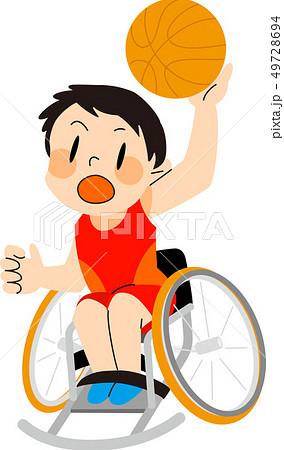 パラスポーツ 車いすバスケットボール イラスト 49728694