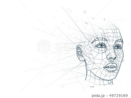 Abstract Human Head Low Poly Wireframe 49729169