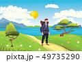 Young happy man, backpacker on the seaside. Hiker, Explorer. Vector Illustration. 49735290