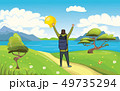 A young happy man, backpacker with raised hands on the seaside. Hiker, Explorer. A symbol of success 49735294