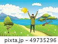 A young happy man, backpacker with raised hands on the seaside. Hiker, Explorer. A symbol of success 49735296