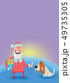 Happy laughing Santa Claus with dog. New year and Christmas cards for year of the dog according to 49735305