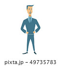 Businessman in suit standing with his hands on waist. Successful entrepreneur, business, strong 49735783
