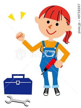 DIY ガッツポーズオーバーオールの女性 49738367