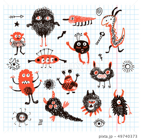 Monsters funny collection illustration 49740373