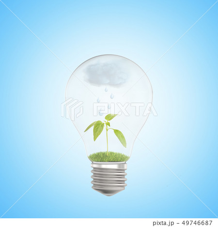 3d close-up rendering of electric bulb with green sprout and rain cloud inside on light blue 49746687