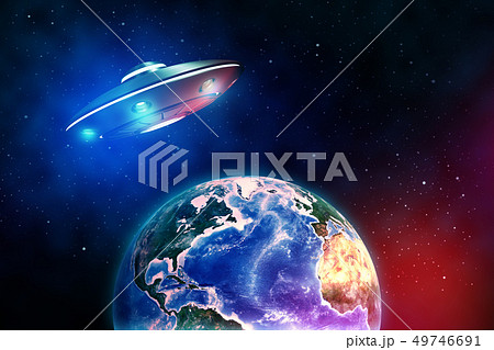 3d rendering of silver metal UFO above the Earth planet on dark outer space background 49746691