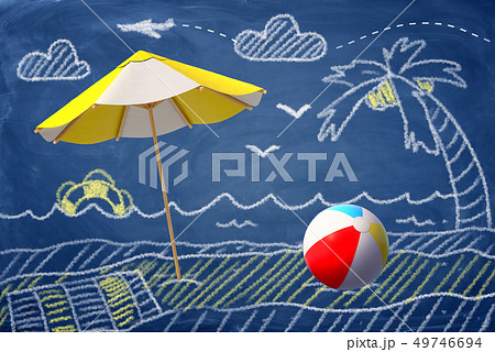 3d rendering of a beach umbrella and a beach ball against a chalk drawing of a beach, palm-tree and 49746694