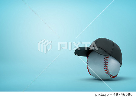3d rendering of baseball wearing black baseball cap on the right of image with copy space on the 49746696