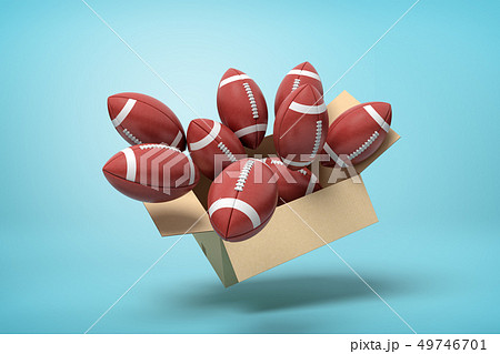 3d rendering of brown american football balls in carton box on blue background 49746701