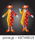 Funny clown character in colorful costume set 49748619