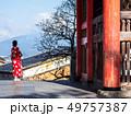 写真ポーズをとる外国人観光客 清水寺 49757387
