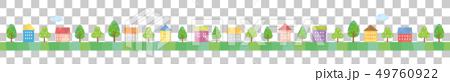 라인 소재 - 귀여운 집 풍경 여름 49760922