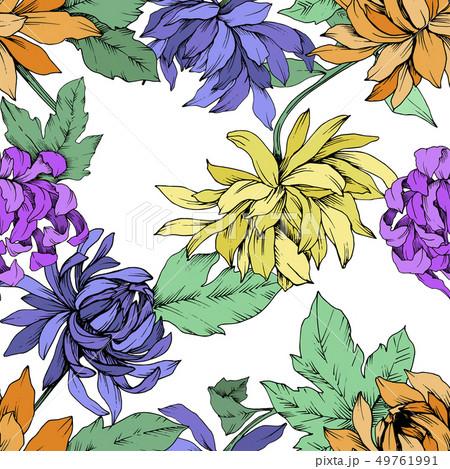 Vector Chrysanthemum floral botanical flowers. Engraved ink art. Seamless background pattern. 49761991