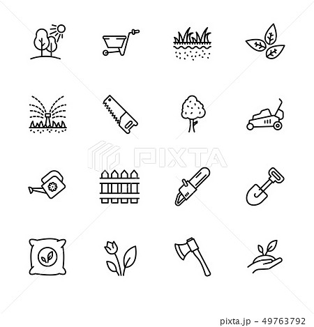 Icon set gardening, agriculture and horticulture. Contains such symbols gardening tools for growing 49763792