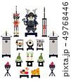 端午の節句のイメージ。 日本の季節のイラスト。 五月人形。こどもの日のイラスト素材。鎧武者。 49768446