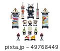 端午の節句のイメージ。 日本の季節のイラスト。 五月人形。こどもの日のイラスト素材。鎧武者。 49768449