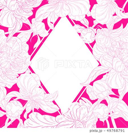 Elegant greeting card with flowers ink sketch 49768791