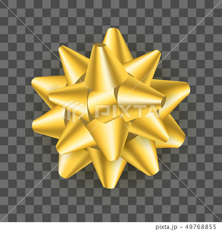 Realistic Detailed 3d Golden Gift Bow on a Transparent Background . Vector 49768855