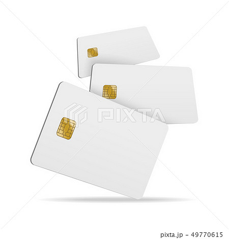 Realistic Detailed 3d Falling Blank Plastic Credit Card. Vector 49770615