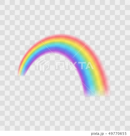 Realistic Detailed 3d Rainbow on a Transparent Background. Vector 49770655