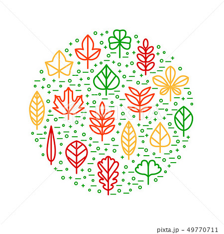 Leaf Signs Thin Line Round Design Template. Vector 49770711