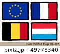 手描きの旗アイコン「欧州旗」「フランスの国旗」「ベルギーの国旗」「ルクセンブルクの国旗」 49778340