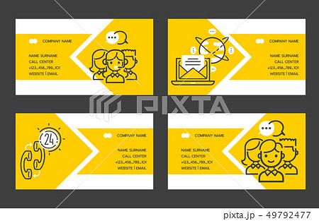 Call center vector business card people operator in headset character working in call-office to 49792477