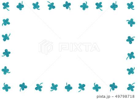 手描きフレーム スクエア リーフ 四つ葉 ブルーグリーン 49798718