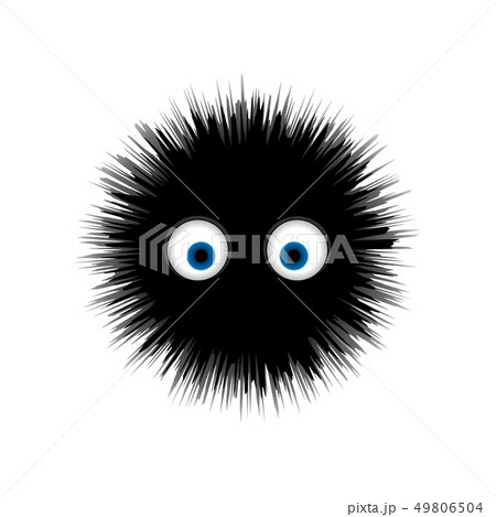 Furry monster, round cartoon prickly character vector illustration 49806504