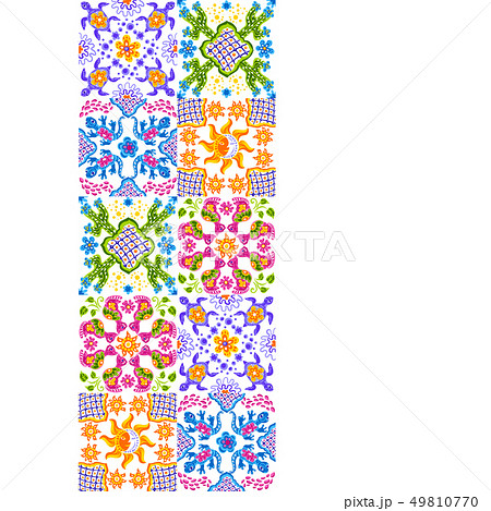 Mexican talavera ceramic tile pattern. Cute naive art items. 49810770