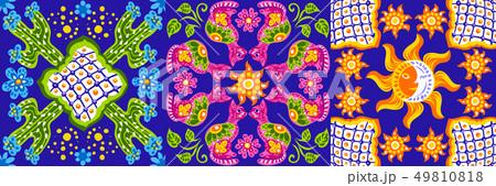Mexican talavera ceramic tile pattern. Cute naive art items. 49810818