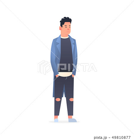 young asian guy wearing casual clothes happy attractive man holding hands in pockets standing pose 49810877