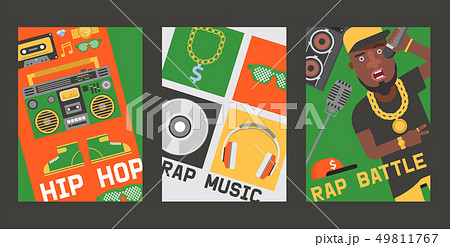 Rap music vector dj playing disco on turntable sound record illustration backdrop of rap cap 49811767