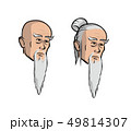 Head of an old asian men, cartoon isolated vector illustration. Set of two isolated heads. 49814307