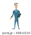Businessman holding a tablet or file. Flat vector illustration. Isolated on white background. 49814310