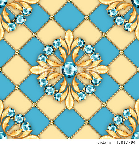 Jewelry background. Seamless pattern with round gemstones 49817794