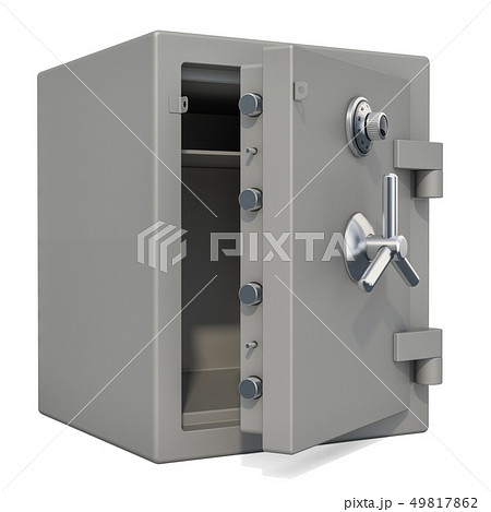Opened safe box with combination lock closeup 49817862
