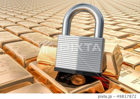 Golden ingots with padlock, 3D rendering 49817872
