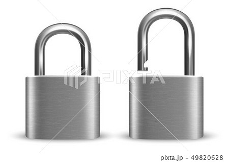 Vector 3d Realistic Closed and Opened Metal Silver Chrome Padlock Icon Set Closeup Isolated on White 49820628