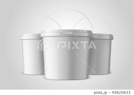 Vector Realistic 3d White Plastic Bucket Set for Food Products, Paint, Foodstuff, Adhesives, Primers 49820633