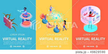 Virtual Reality Set of Vertical Banners. VR Games 49829590