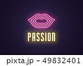Neon composition of Woman lips. Vector glowing art 49832401