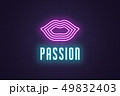 Neon composition of Woman lips. Vector glowing art 49832403