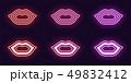 Neon icon set of Woman lips. Vector glowing Lips 49832412