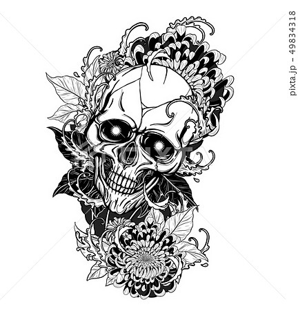 Skull with roses tattoo by hand drawing. 49834318