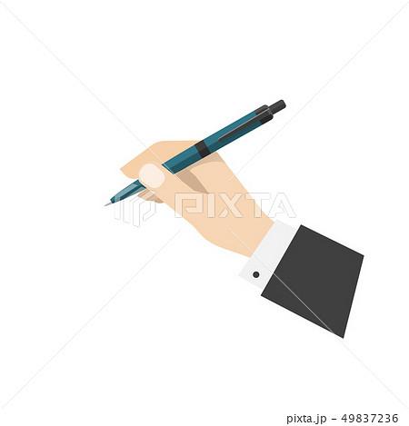 Hand holding ball biro pen illustration 49837236