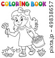 Coloring book girl with flower theme 1 49838657