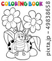Coloring book flower and happy ladybug 1 49838658