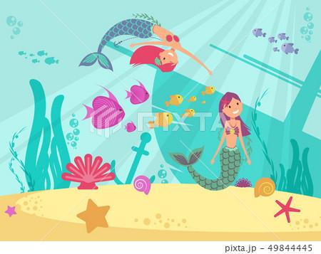 Cartoon fairytale underwater vector background with mermaids 49844445